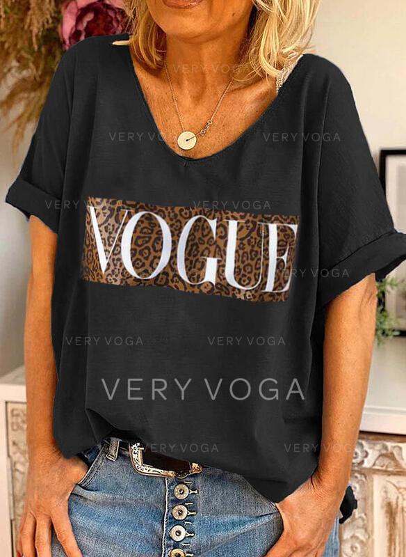 Figura lampart Nadruk Okrągły dekolt Krótkie rękawy T-shirty