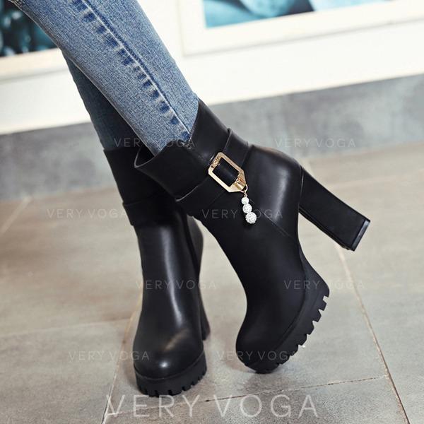 47c794d9 De mujer Cuero Tacón ancho Salón Plataforma Botas con Rhinestone Hebilla Cremallera  zapatos