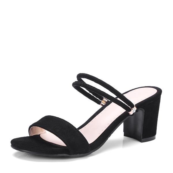 Жіночі Замша Квадратні підбори Сандалі Насоси взуття на короткій шпильці  Босоніжки b8e3e05fc1ad6