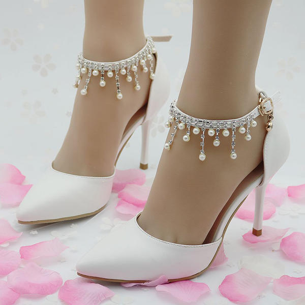 90e87783390 Women s Leatherette Stiletto Heel Closed Toe Pumps Sandals MaryJane With  Buckle Imitation Pearl