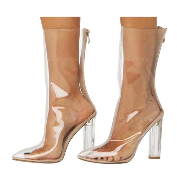 Жіночі Шкіра Квадратні підбори Чоботи середньої довжини з Блискавка взуття