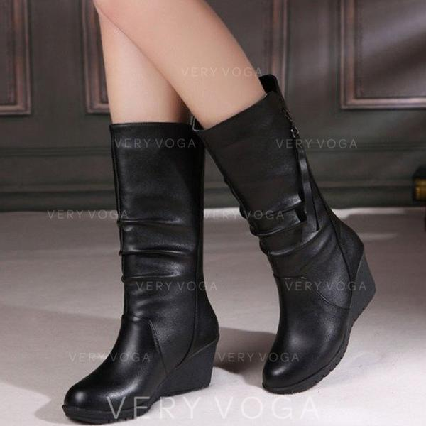 Women's PU Wedge Heel Closed Toe Wedges Boots With Zipper shoes