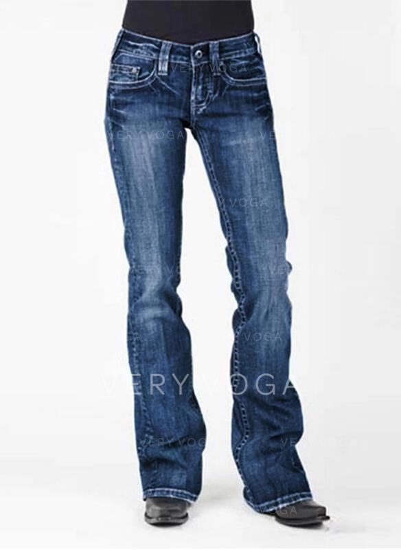 Taschen Shirred Übergröße Lange Elegant Sexy Denim Jeans