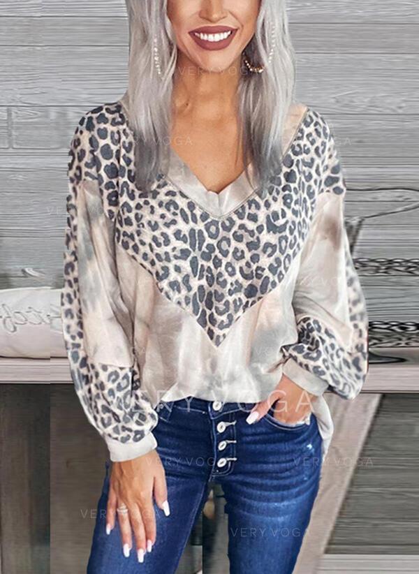 леопард галстук краситель V шеи Длинные рукова Повседневная Блузы