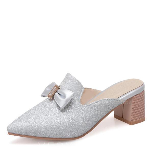 Femmes Similicuir Talon bottier Bout fermé Chaussons avec Bowknot Paillette chaussures