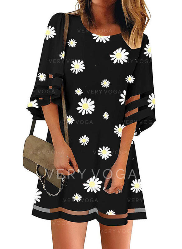 Print/Floral 3/4 Sleeves Shift Above Knee Casual/Elegant Dresses
