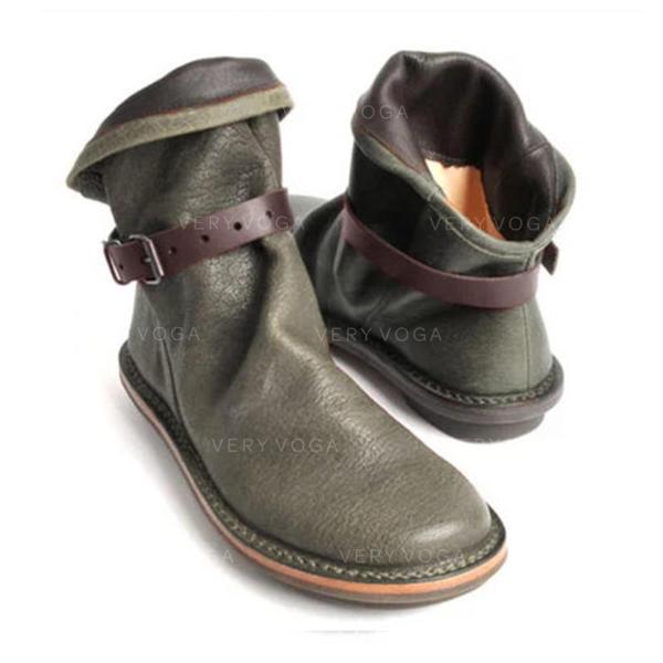 Női PU Lapos sarok Csizma -Val Csat cipő