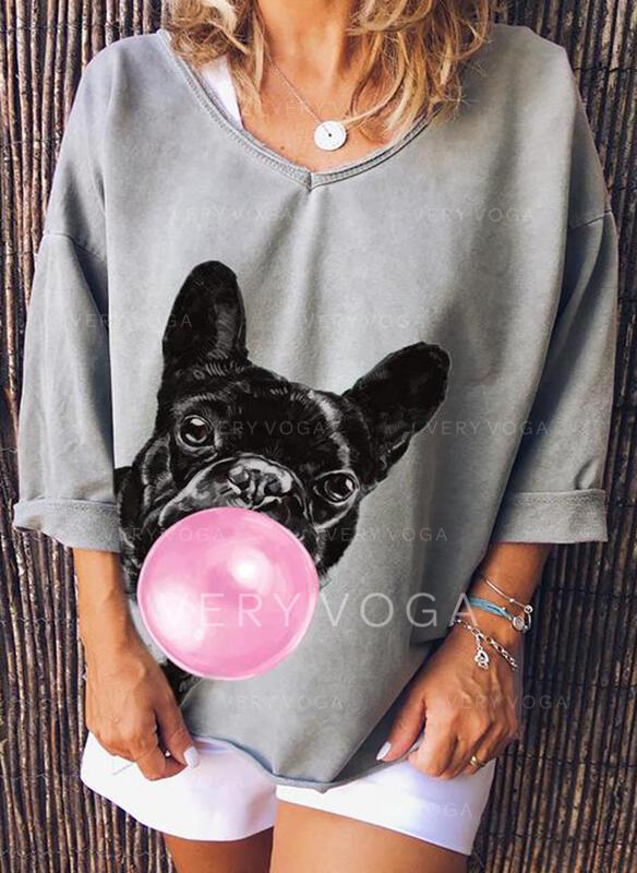 Dyreprint V-hals Lange ærmer Casual T-shirts