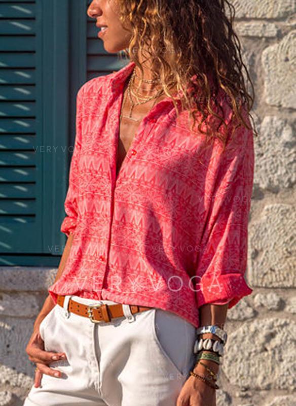 Stampa Risvolto Maniche lunghe Bottone Casuale Shirt and Blouses
