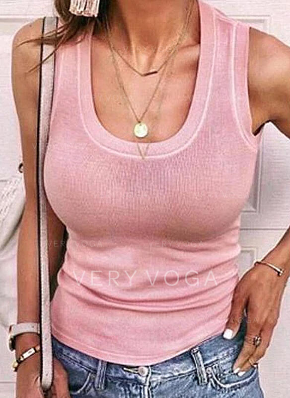 Solid Round Neck Sleeveless Casual Basic Knit Tank Tops