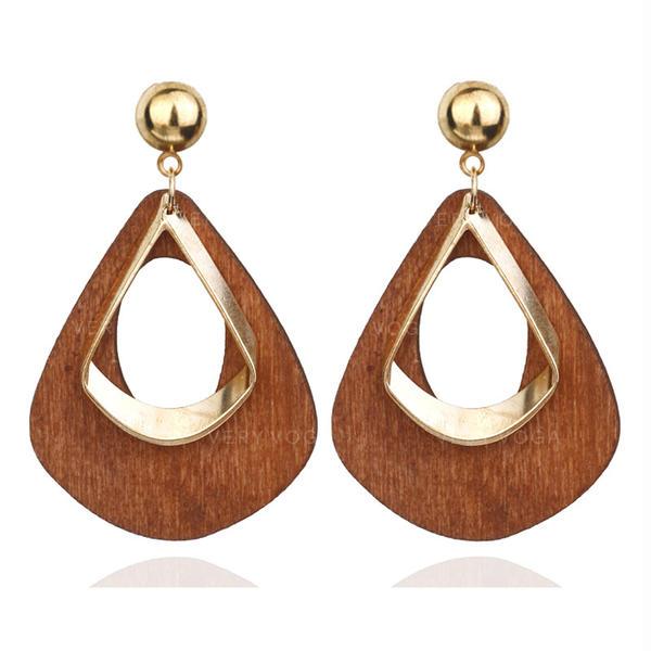Stilvoll Legierung Holz Frauen Ohrringe