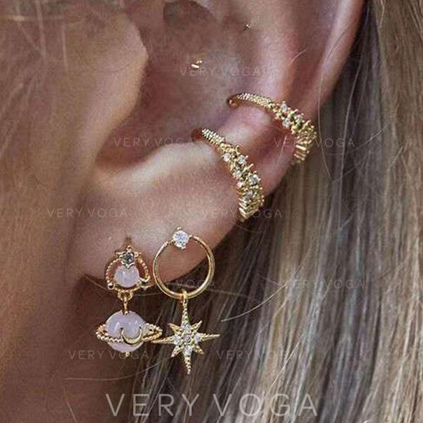 Fashionable Chic Alloy Rhinestones With Star Women's Ladies' Earrings 4 PCS