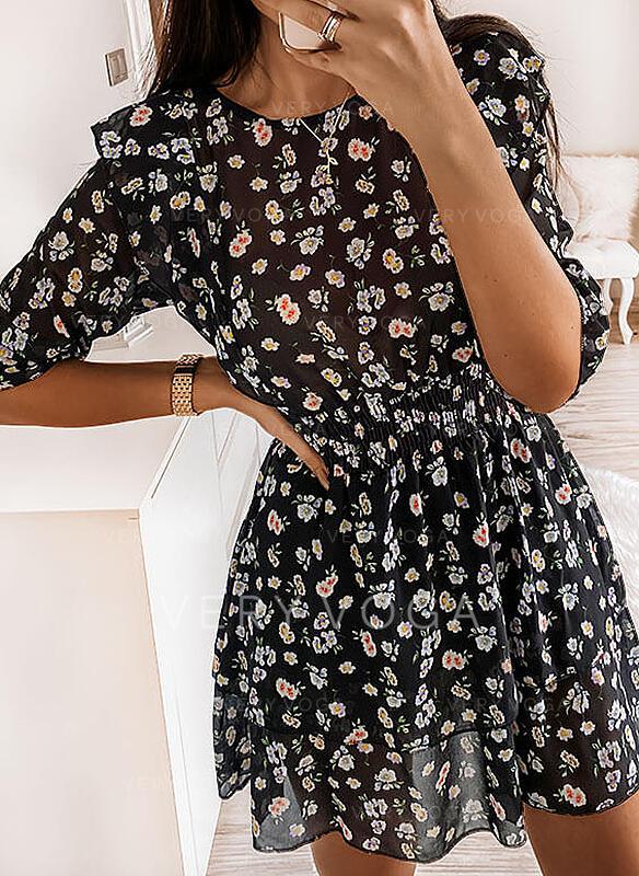 Nadrukowana/Kwiatowy Długie rękawy W kształcie litery A Nad kolana Casual Sukienki