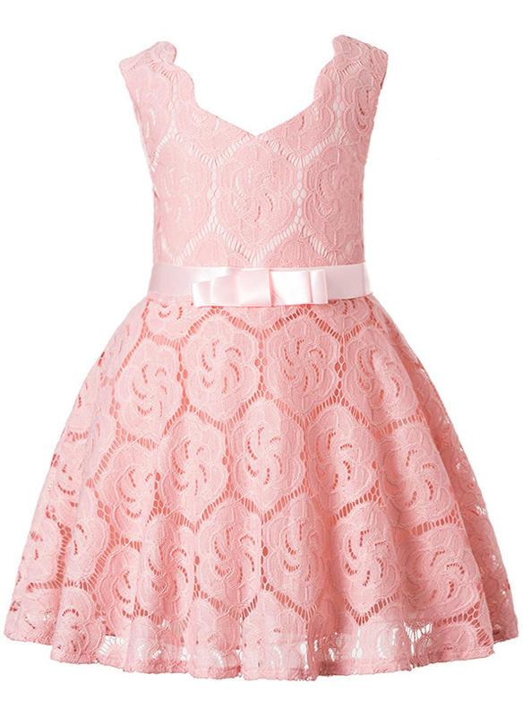 e7cc4664995 Κορίτσια Στρογγυλός λαιμός Στερεός Δαντέλα Χαριτωμένος Κόμμα Φόρεμα ...