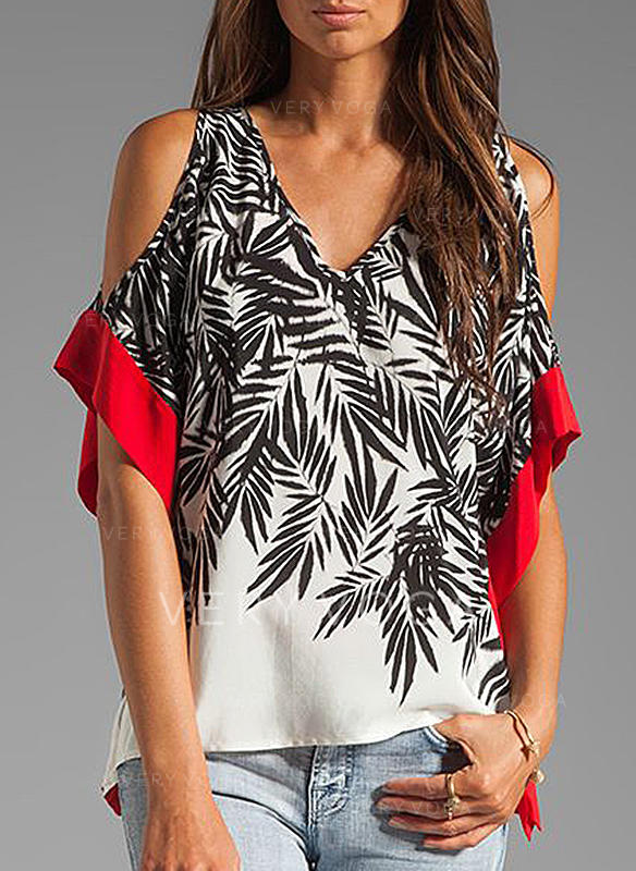 Print Cold Shoulder 1/2 Sleeves Casual Sexy Blouses