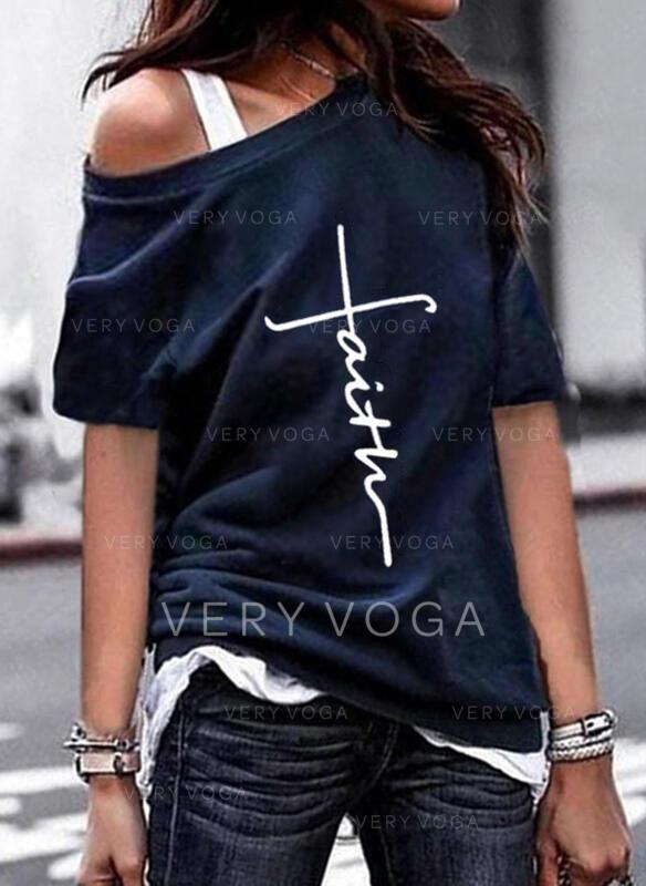 Impresión Carta Cuello Redondo Manga Corta Camisetas