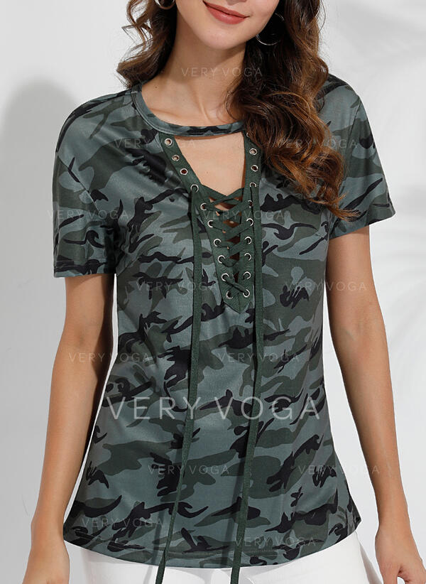 Print V-Neck Short Sleeves Casual Sexy Blouses