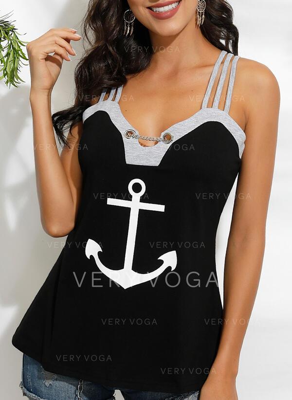 Estampado Alças finas Sem Mangas Casual Camisetas regata