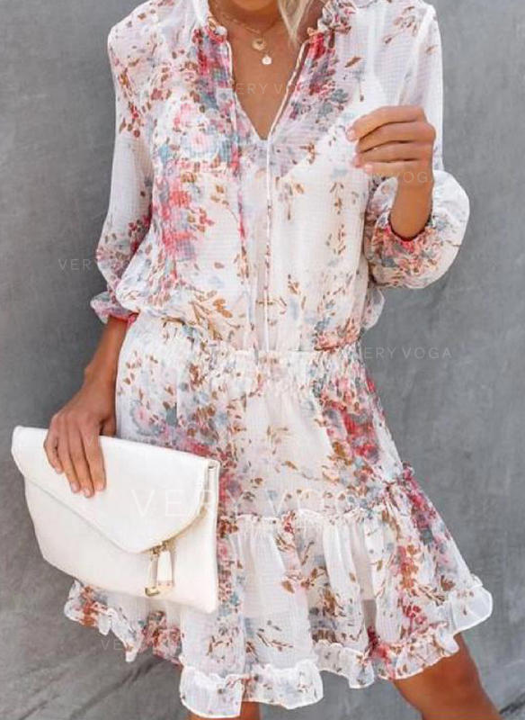 Print/Floral 3/4 Sleeves A-line Knee Length Casual/Vacation Dresses