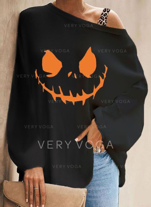 halloween Impresión Leopardo Un Hombre Manga Larga Manga de murciélago Casual Blusas