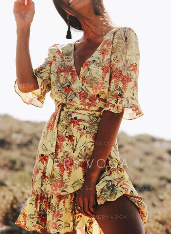 Print/Floral 1/2 Sleeves/Flare Sleeves A-line Above Knee Casual/Vacation Dresses