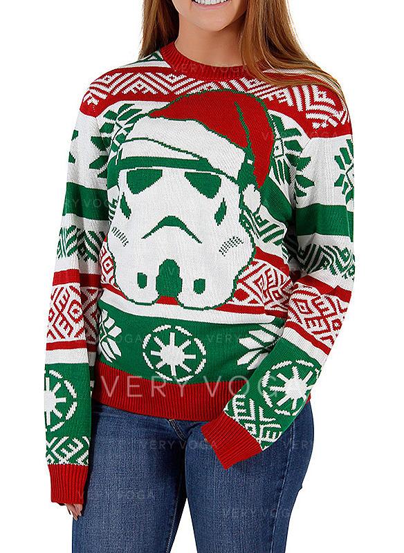Cotton Blends Print Santa Christmas Sweatshirt