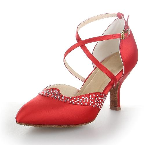 Women's Ballroom Heels Pumps Satin With Rhinestone Modern