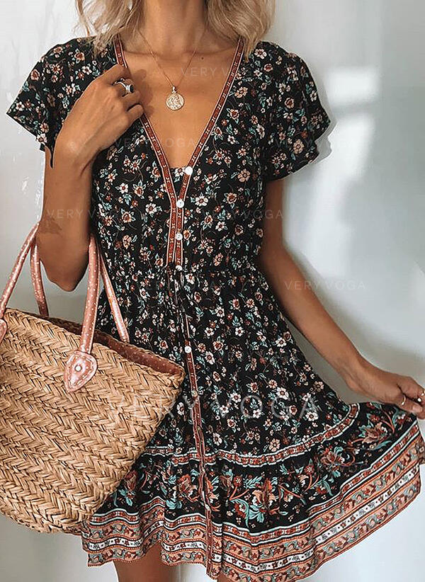 Print/Floral Short Sleeves A-line Above Knee Casual/Boho/Vacation Dresses (199301987)