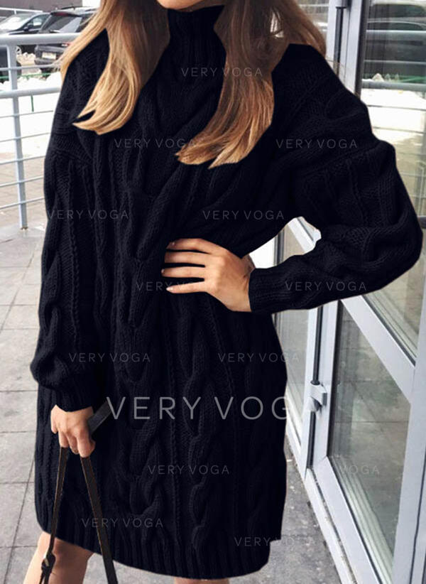 Solid Lange ærmer Shift Knælængde Den lille sorte/Casual Sweater Kjoler