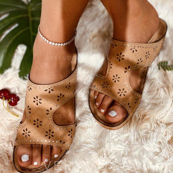 Dámské PVC Placatý podpatek Pantofle S Vydlabaný obuv