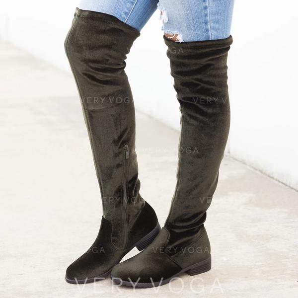 Women's PU Low Heel Over The Knee Boots With Zipper shoes