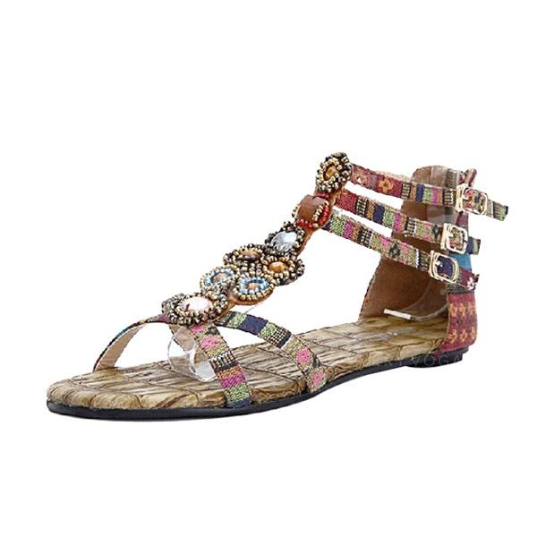 De mujer Tela Tacón plano Sandalias con Hebilla zapatos