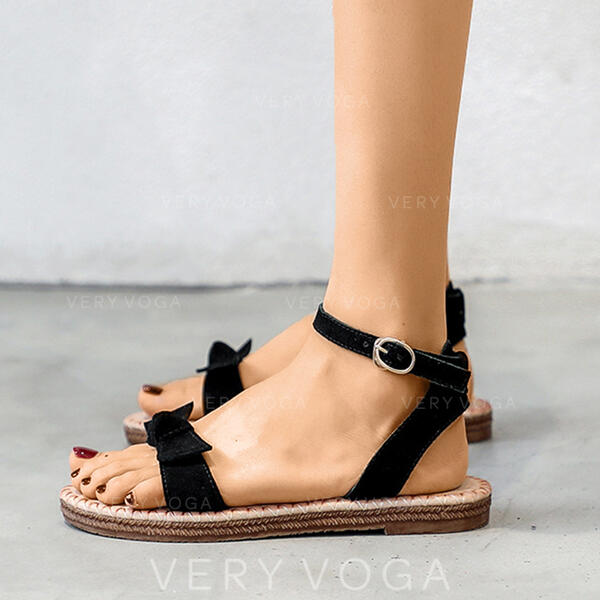 Women's Real Leather Flat Heel Sandals Peep Toe With Buckle shoes