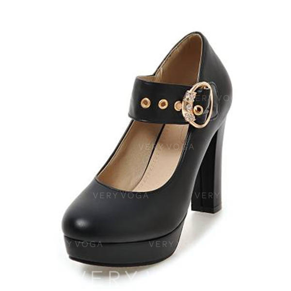 Women's PU Chunky Heel Pumps Platform Closed Toe With Crystal Buckle shoes