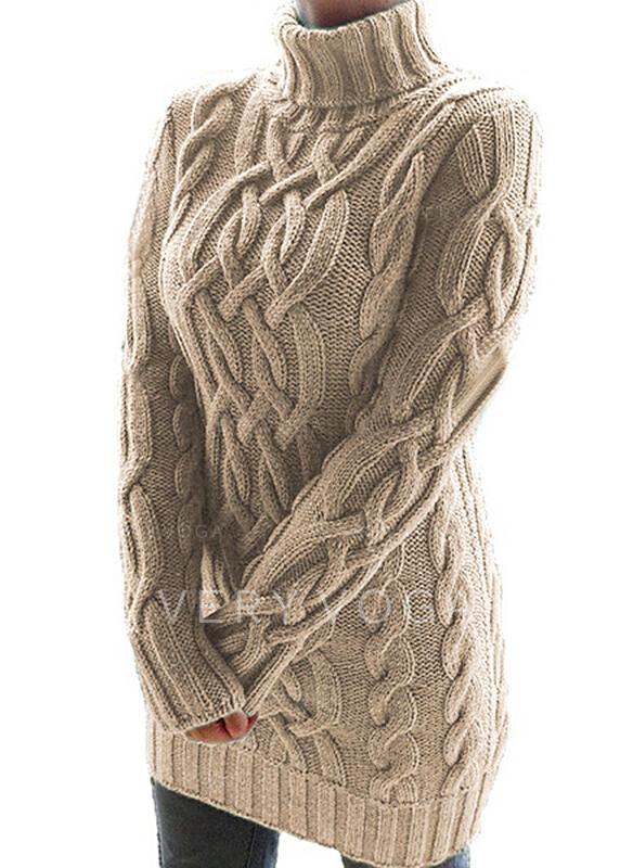 Sólido Manga Larga Cubierta Sobre la Rodilla Pequeños Negros/Casual Suéter Vestidos