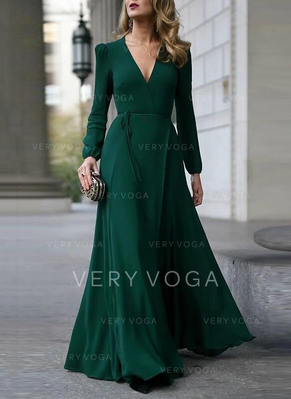 Solid Long Sleeves A-line Skater Little Black/Party/Elegant Maxi Dresses
