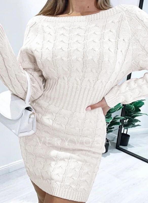 Solid Lange ærmer Bodycon Over knæet Casual Sweater Kjoler