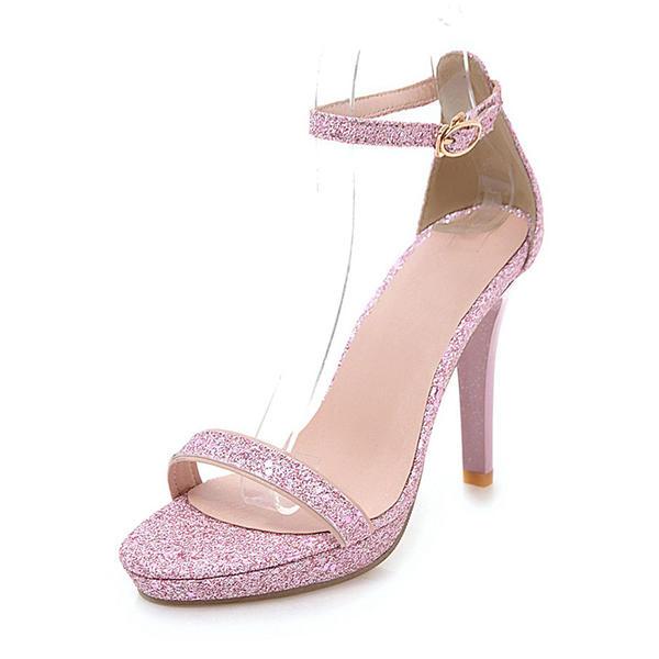 8c2aba4c782079 Vrouwen Sprankelende Glitter Stiletto Heel Sandalen Pumps Plateau Peep Toe  met Gesp schoenen