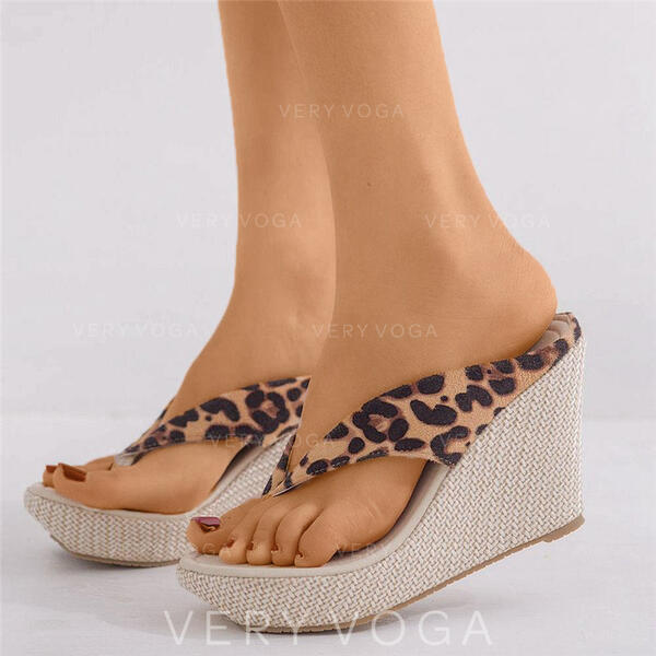 Women's Suede Wedge Heel Wedges Flip-Flops Slippers shoes