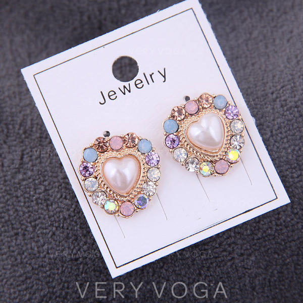 Heart Shaped Alloy Rhinestones Women's Earrings