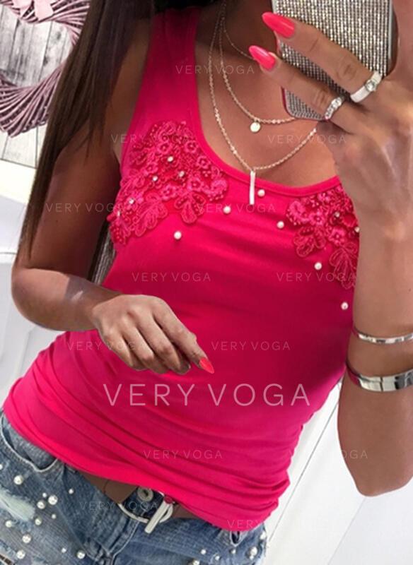 Wysadzana perełkami Koronka Jednolity Okrągły dekolt Bez Rękawów Koszulki bez rękawów