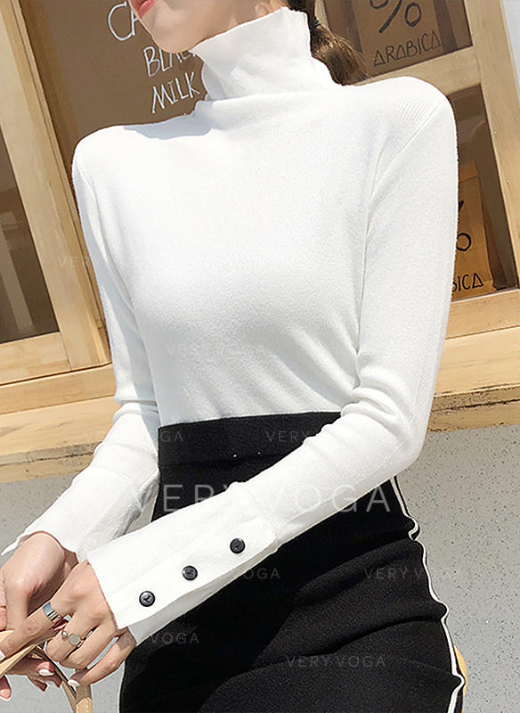 Solid Turtleneck Knit Tops