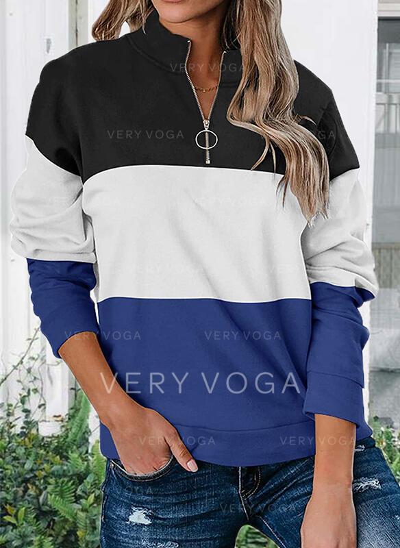 Blok Koloru Dekolt w kształcie litery V Długie rękawy Bluza