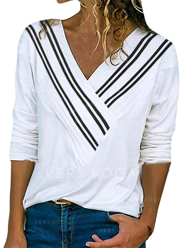 Striped V-neck Long Sleeves Casual Knit Blouses