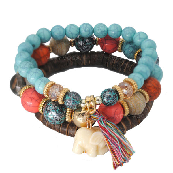 Chic Alloy Imitation Turquoise Silver Plated Wooden Beads Ladies' Fashion Bracelets