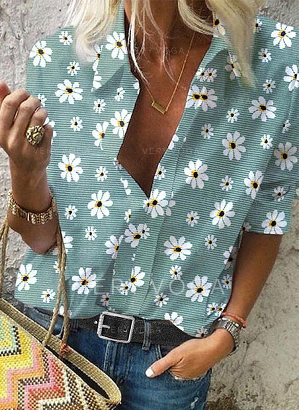 Print Floral Lapel Long Sleeves Casual Shirt Blouses