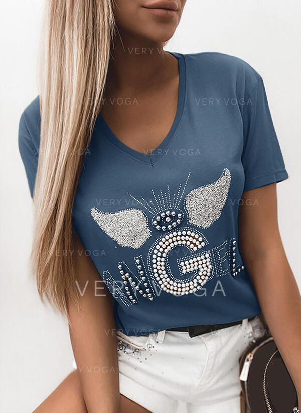 Beaded Sequins V-Neck Short Sleeves T-shirts