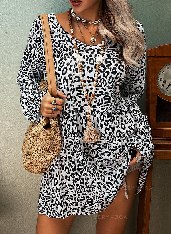 Leopard Rundhalsausschnitt Lange Ärmel Freizeit Blusen