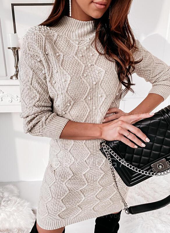 固体/ビーズ 長袖 シースドレス 膝上 カジュアル セーター ドレス