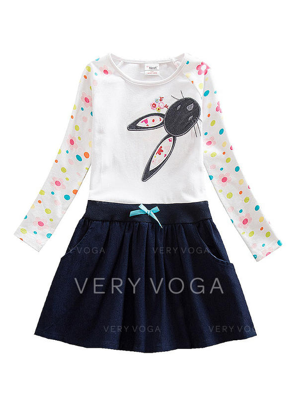 Girls Round Neck Polka Dot Animal Casual Cute Dress